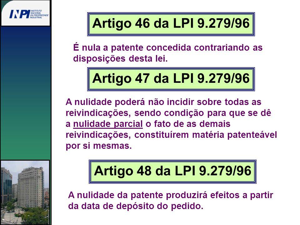Artigo 47 da LPI 9.279/96 A nulidade poderá não incidir sobre todas as reivindicações, sendo condição para que se dê a nulidade parcial o fato de as d