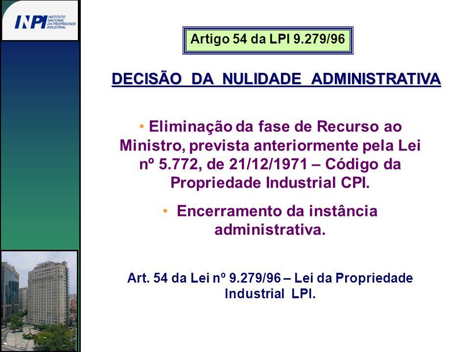 Artigo 54 da LPI 9.279/96 DECISÃO DA NULIDADE ADMINISTRATIVA Eliminação da fase de Recurso ao Ministro, prevista anteriormente pela Lei nº 5.772, de 2