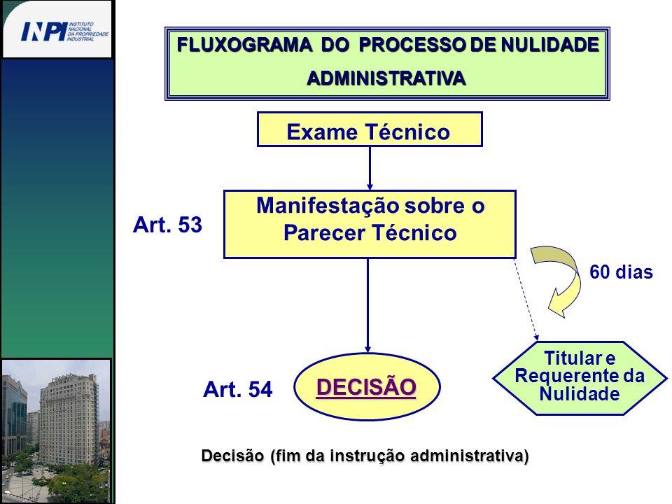 Exame Técnico Manifestação sobre o Parecer Técnico Art. 53 DECISÃO Titular e Requerente da Nulidade 60 dias Art. 54 Decisão (fim da instrução administ