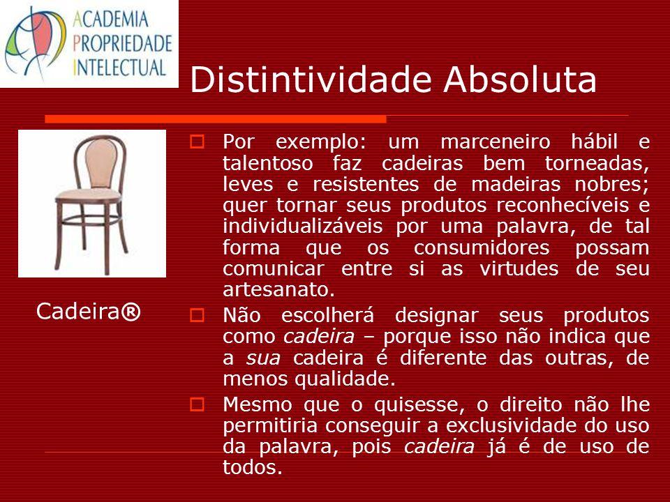 Distintividade Absoluta Por exemplo: um marceneiro hábil e talentoso faz cadeiras bem torneadas, leves e resistentes de madeiras nobres; quer tornar s