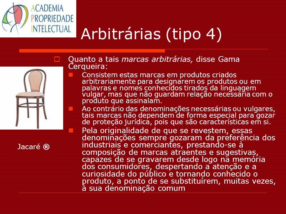 Arbitrárias (tipo 4) Quanto a tais marcas arbitrárias, disse Gama Cerqueira: Consistem estas marcas em produtos criados arbitrariamente para designare