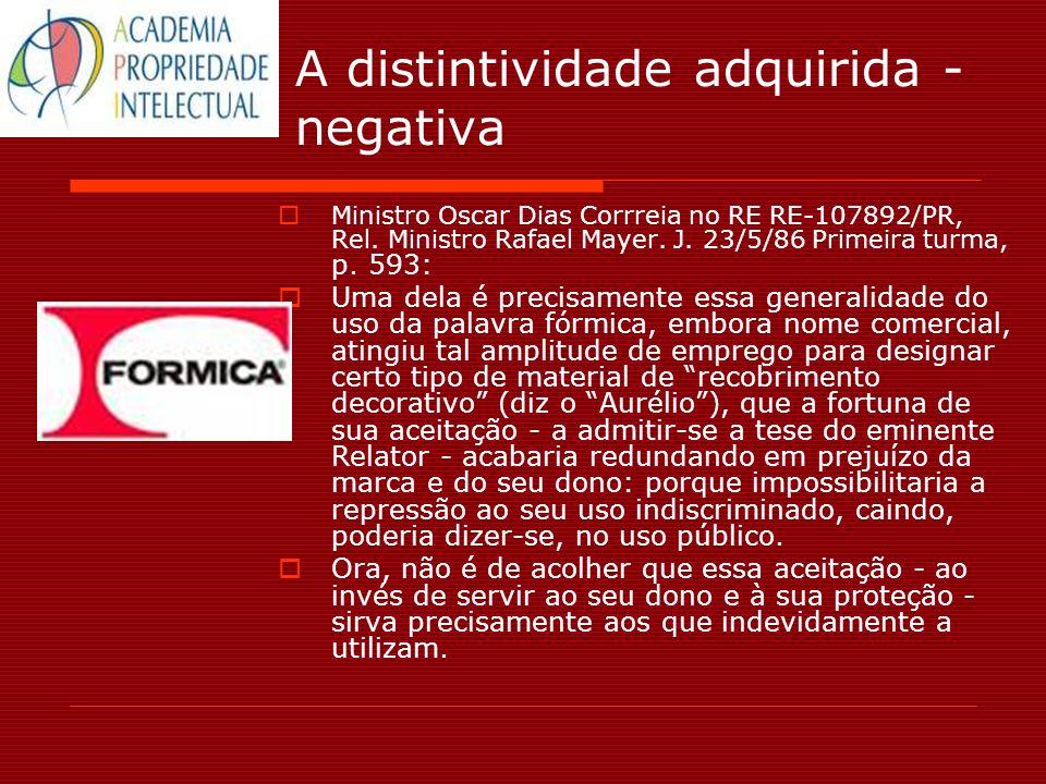 A distintividade adquirida - negativa Ministro Oscar Dias Corrreia no RE RE-107892/PR, Rel. Ministro Rafael Mayer. J. 23/5/86 Primeira turma, p. 593: