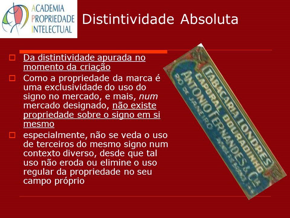 Distintividade Absoluta Da distintividade apurada no momento da criação Como a propriedade da marca é uma exclusividade do uso do signo no mercado, e