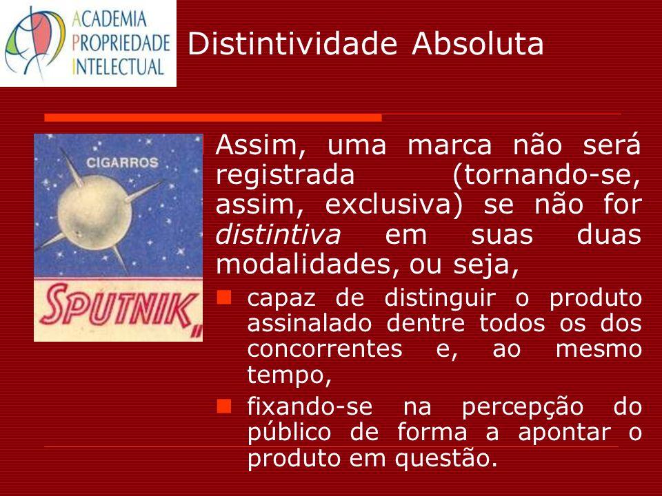 Distintividade Absoluta Assim, uma marca não será registrada (tornando-se, assim, exclusiva) se não for distintiva em suas duas modalidades, ou seja,