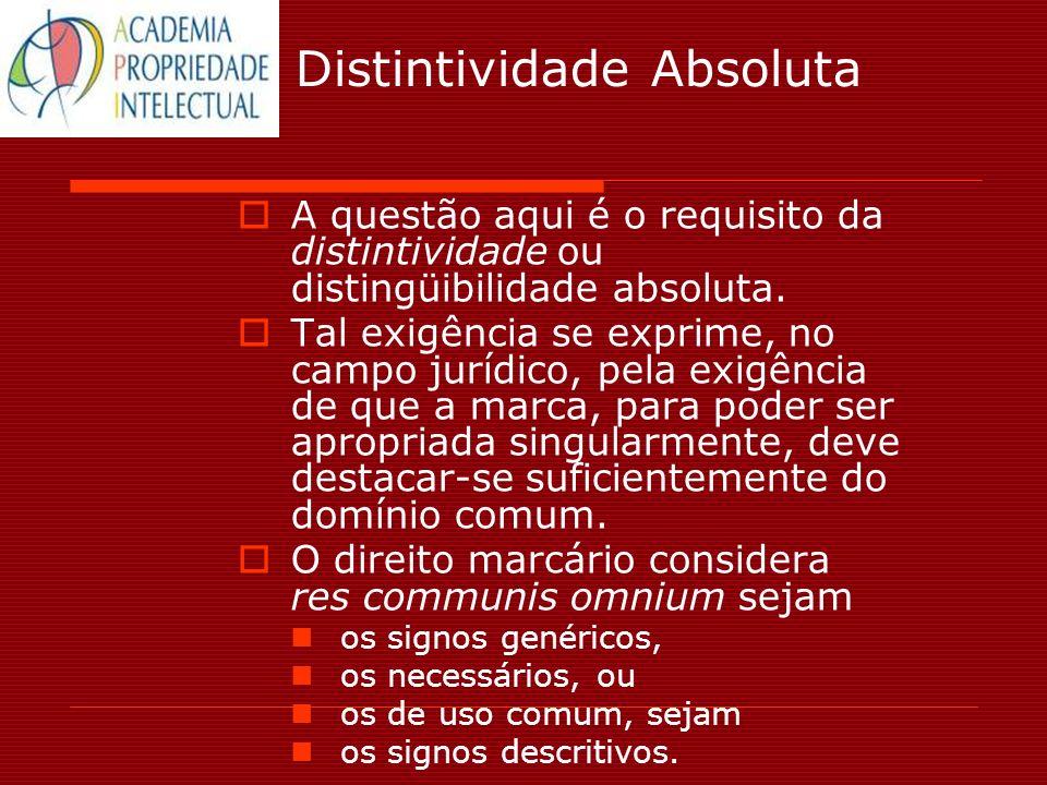 Distintividade Absoluta A questão aqui é o requisito da distintividade ou distingüibilidade absoluta. Tal exigência se exprime, no campo jurídico, pel