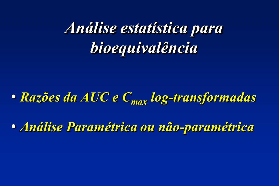 Razões da AUC e C max log-transformadas Análise Paramétrica ou não-paramétrica Razões da AUC e C max log-transformadas Análise Paramétrica ou não-para