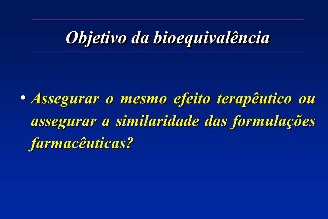 Objetivo da bioequivalência Assegurar o mesmo efeito terapêutico ou assegurar a similaridade das formulações farmacêuticas?