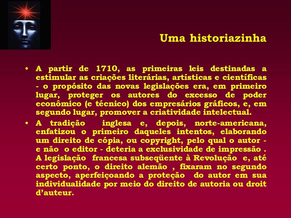 Uma historiazinha A partir de 1710, as primeiras leis destinadas a estimular as criações literárias, artísticas e científicas - o propósito das novas
