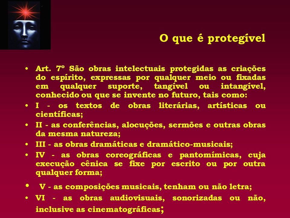O que é protegível Art. 7º São obras intelectuais protegidas as criações do espírito, expressas por qualquer meio ou fixadas em qualquer suporte, tang