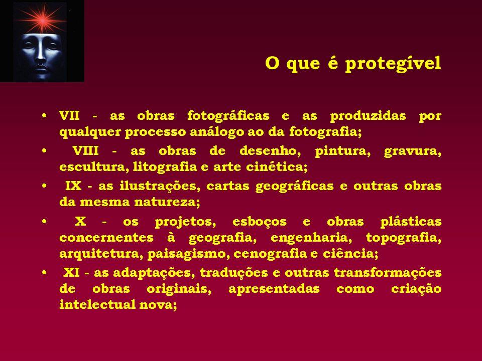 O que é protegível VII - as obras fotográficas e as produzidas por qualquer processo análogo ao da fotografia; VIII - as obras de desenho, pintura, gr