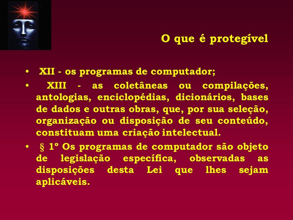 O que é protegível XII - os programas de computador; XIII - as coletâneas ou compilações, antologias, enciclopédias, dicionários, bases de dados e out