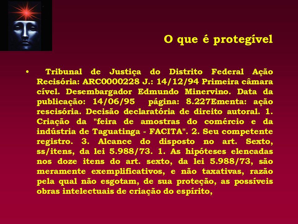 O que é protegível Tribunal de Justiça do Distrito Federal Ação Recisória: ARC0000228 J.: 14/12/94 Primeira câmara cível. Desembargador Edmundo Minerv