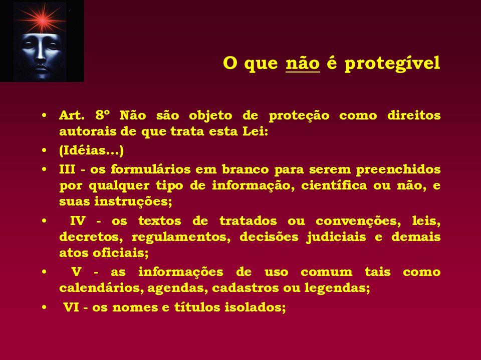 O que não é protegível Art. 8º Não são objeto de proteção como direitos autorais de que trata esta Lei: (Idéias...) III - os formulários em branco par