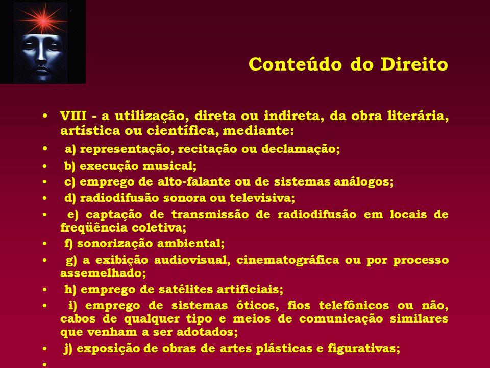 Conteúdo do Direito VIII - a utilização, direta ou indireta, da obra literária, artística ou científica, mediante: a) representação, recitação ou decl