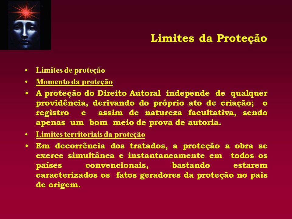 Limites da Proteção Limites de proteção Momento da proteção A proteção do Direito Autoral independe de qualquer providência, derivando do próprio ato