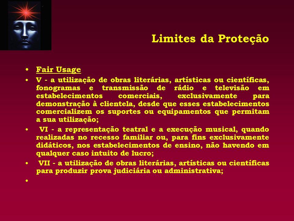 Limites da Proteção Fair Usage V - a utilização de obras literárias, artísticas ou científicas, fonogramas e transmissão de rádio e televisão em estab