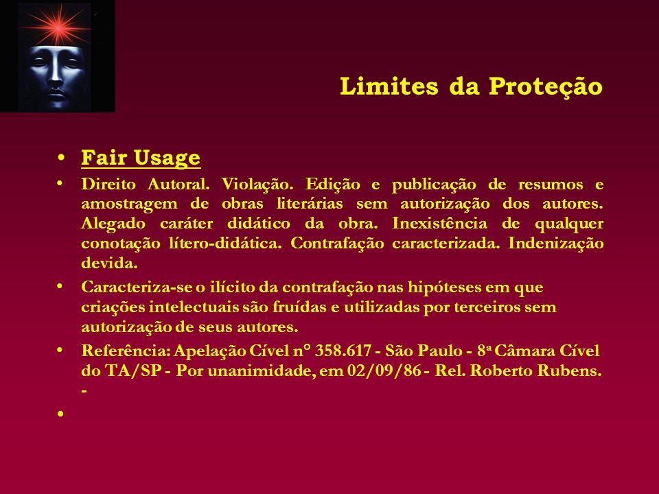 Limites da Proteção Fair Usage Direito Autoral. Violação. Edição e publicação de resumos e amostragem de obras literárias sem autorização dos autores.