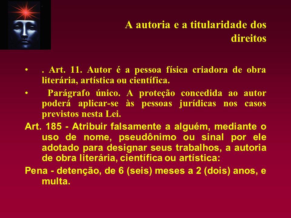 A autoria e a titularidade dos direitos. Art. 11. Autor é a pessoa física criadora de obra literária, artística ou científica. Parágrafo único. A prot