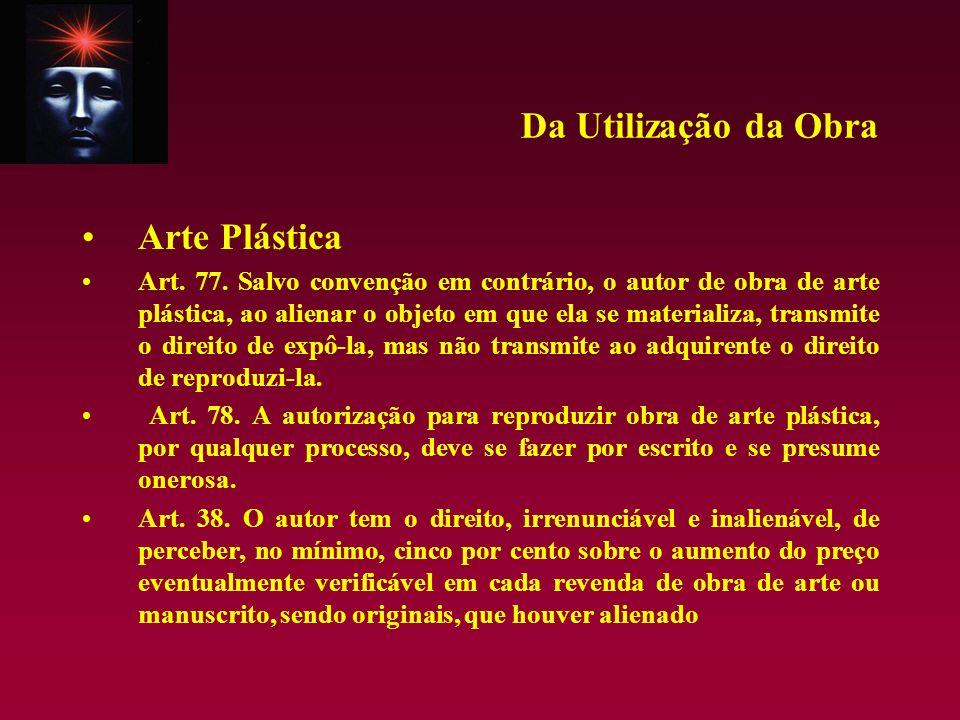Da Utilização da Obra Arte Plástica Art. 77. Salvo convenção em contrário, o autor de obra de arte plástica, ao alienar o objeto em que ela se materia