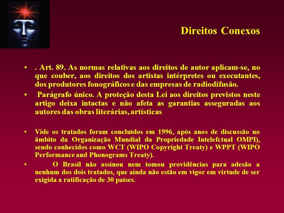 Direitos Conexos. Art. 89. As normas relativas aos direitos de autor aplicam-se, no que couber, aos direitos dos artistas intérpretes ou executantes,