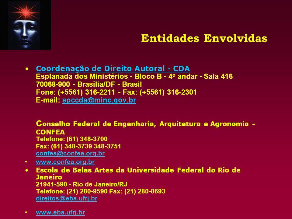 Entidades Envolvidas Escola de Música da Universidade Federal do Rio de Janeiro Telefone: (21) 240-1491 - 544-1232 fax: (21) 532-4649 E-mail: musica@acd.ufrj.br Home Page: Não constamusica@acd.ufrj.br Instituto Nacional da Propriedade Industrial - INPI Telefone: (21) 253-5791 - 253-5792 Fax: (21) 253-0436 registro_de_software@inpi.gov.br registro_de_software@inpi.gov.br www.inpi.gov.br Escritório de Direitos Autorais da Fundação Biblioteca Nacional - EDA Telefone: (21) 220-0039 - 262-0017 Fax: (21) 240-9179 eda@mincrj.gov.br eda@mincrj.gov.br www.bn.br