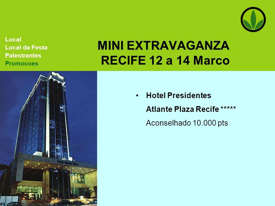 MINI EXTRAVAGANZA RECIFE 12 a 14 Marco Hotel Presidentes Atlante Plaza Recife ***** Aconselhado 10.000 pts Local Local da Festa Palestrantes Promocoes