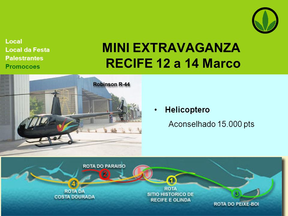 MINI EXTRAVAGANZA RECIFE 12 a 14 Marco Local Local da Festa Palestrantes Promocoes Helicoptero Aconselhado 15.000 pts