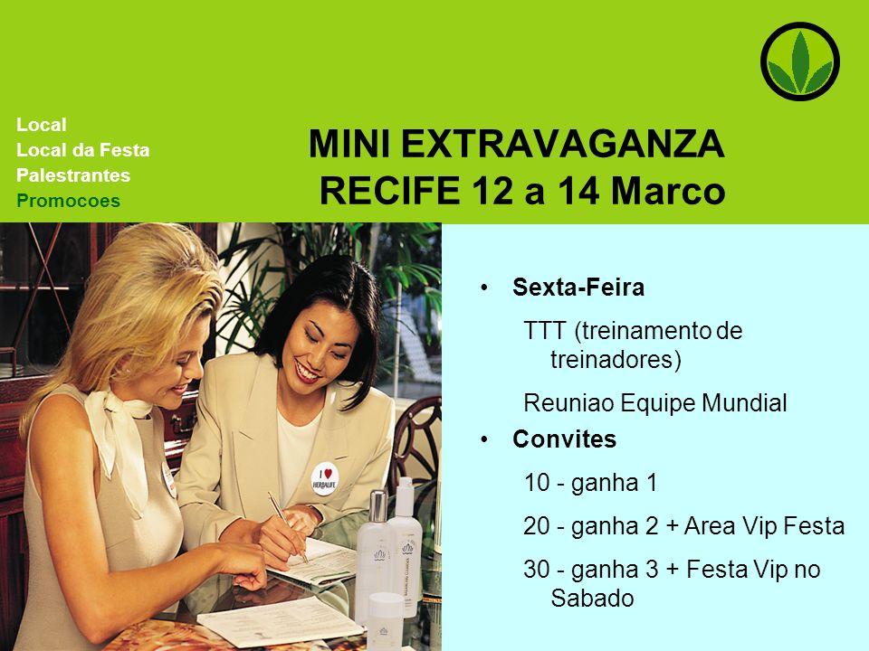 MINI EXTRAVAGANZA RECIFE 12 a 14 Marco Sexta-Feira TTT (treinamento de treinadores) Reuniao Equipe Mundial Local Local da Festa Palestrantes Promocoes