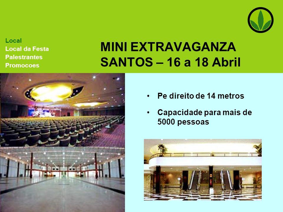 MINI EXTRAVAGANZA SANTOS – 16 a 18 Abril Pe direito de 14 metros Capacidade para mais de 5000 pessoas Local Local da Festa Palestrantes Promocoes