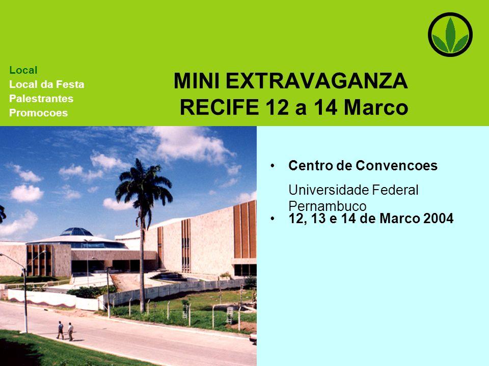 MINI EXTRAVAGANZA RECIFE 12 a 14 Marco Centro de Convencoes Universidade Federal Pernambuco Local Local da Festa Palestrantes Promocoes 12, 13 e 14 de