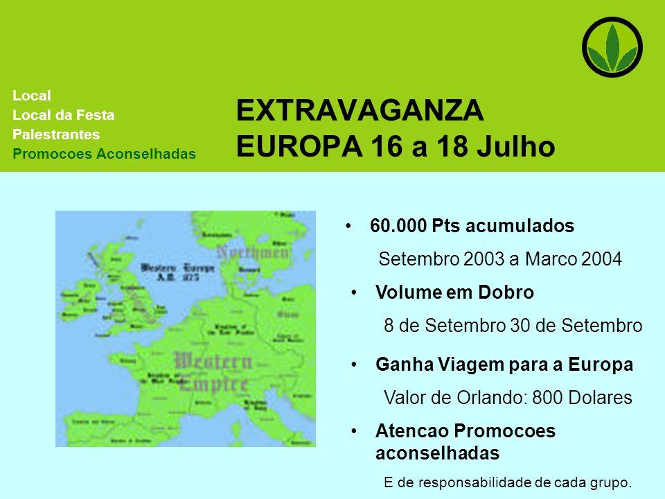 EXTRAVAGANZA EUROPA 16 a 18 Julho 60.000 Pts acumulados Setembro 2003 a Marco 2004 Volume em Dobro 8 de Setembro 30 de Setembro Local Local da Festa P