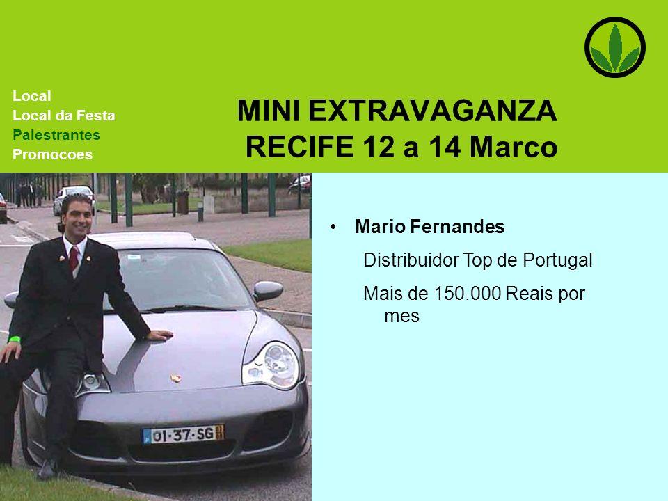 MINI EXTRAVAGANZA RECIFE 12 a 14 Marco Mario Fernandes Distribuidor Top de Portugal Mais de 150.000 Reais por mes Local Local da Festa Palestrantes Pr