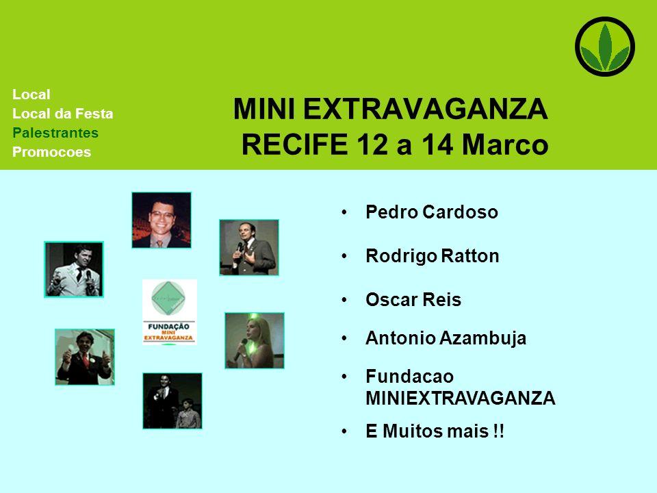 MINI EXTRAVAGANZA RECIFE 12 a 14 Marco Pedro Cardoso Rodrigo Ratton Local Local da Festa Palestrantes Promocoes Oscar Reis Antonio Azambuja Fundacao M