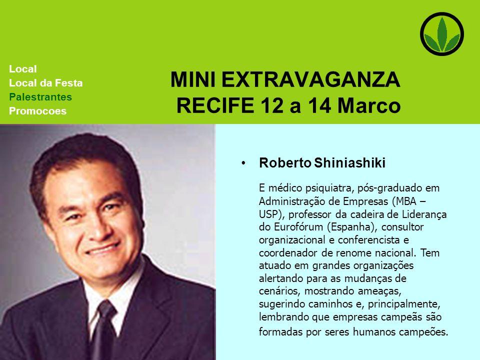 MINI EXTRAVAGANZA RECIFE 12 a 14 Marco Roberto Shiniashiki E médico psiquiatra, pós-graduado em Administração de Empresas (MBA – USP), professor da ca