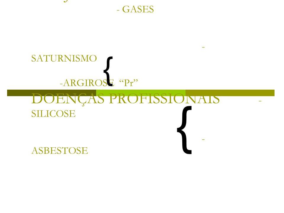 - POEIRA CONJUTIVA - GASES - SATURNISMO -ARGIROSE Pr DOENÇAS PROFISSIONAIS - SILICOSE - ASBESTOSE { {