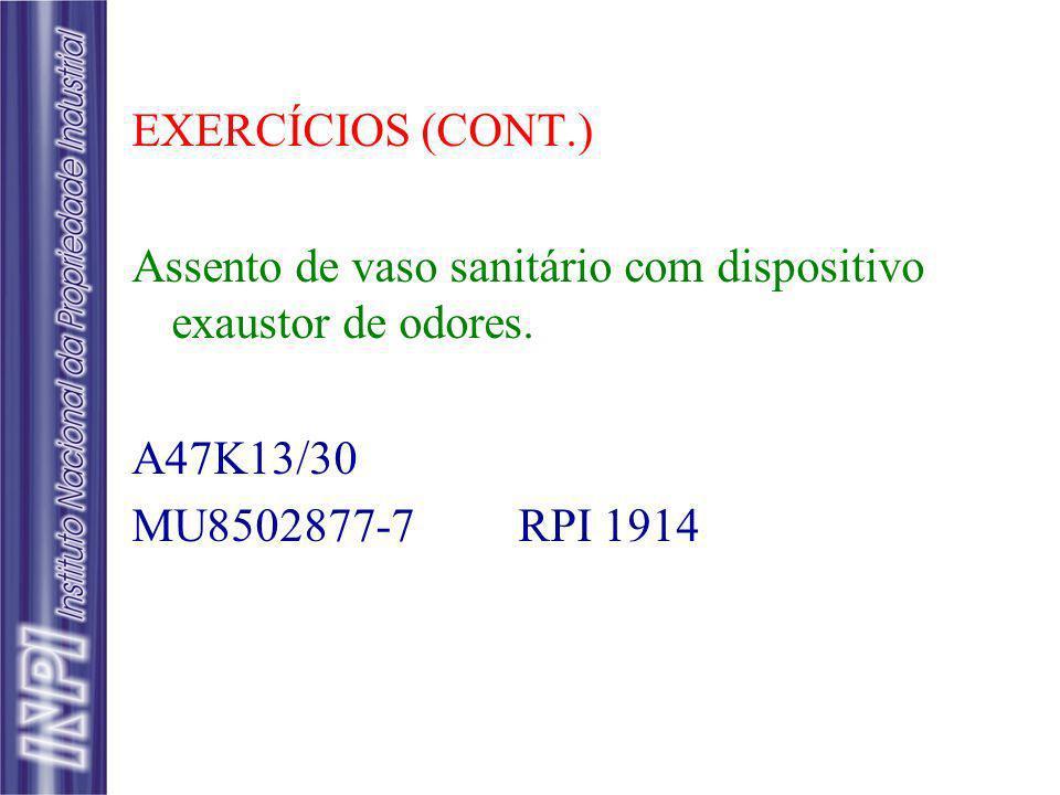 EXERCÍCIOS (CONT.) Assento de vaso sanitário com dispositivo exaustor de odores. A47K13/30 MU8502877-7 RPI 1914