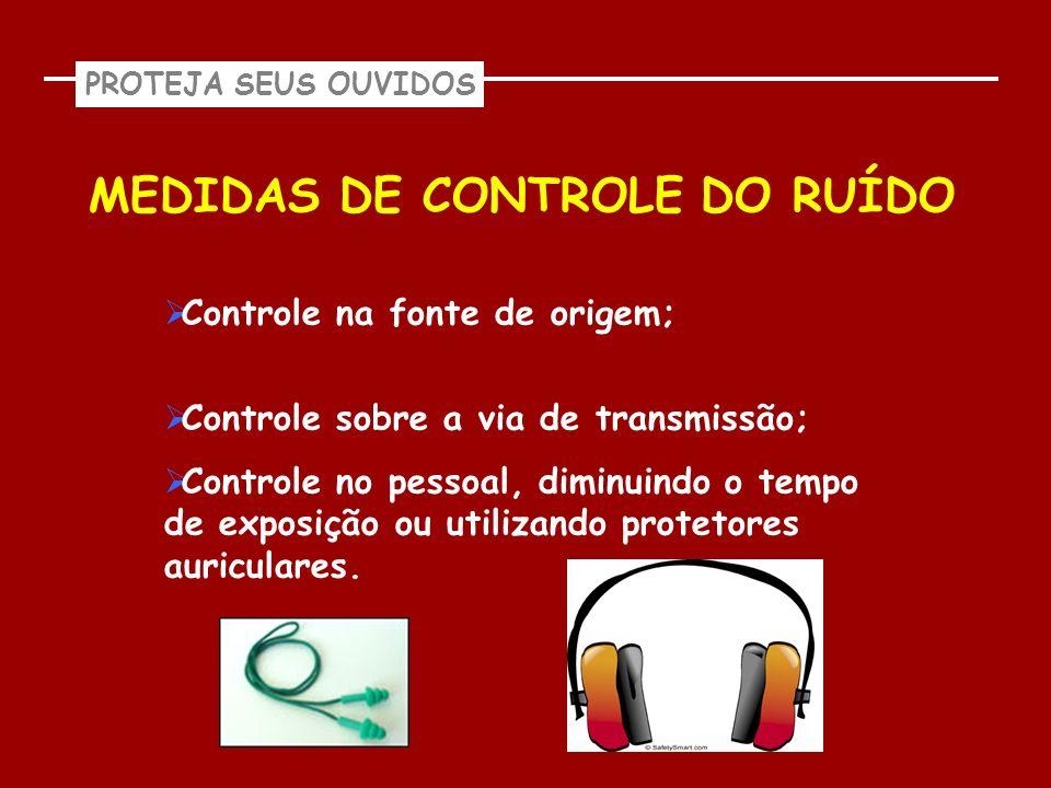 PROTEJA SEUS OUVIDOS MEDIDAS DE CONTROLE DO RUÍDO Controle na fonte de origem; Controle sobre a via de transmissão; Controle no pessoal, diminuindo o