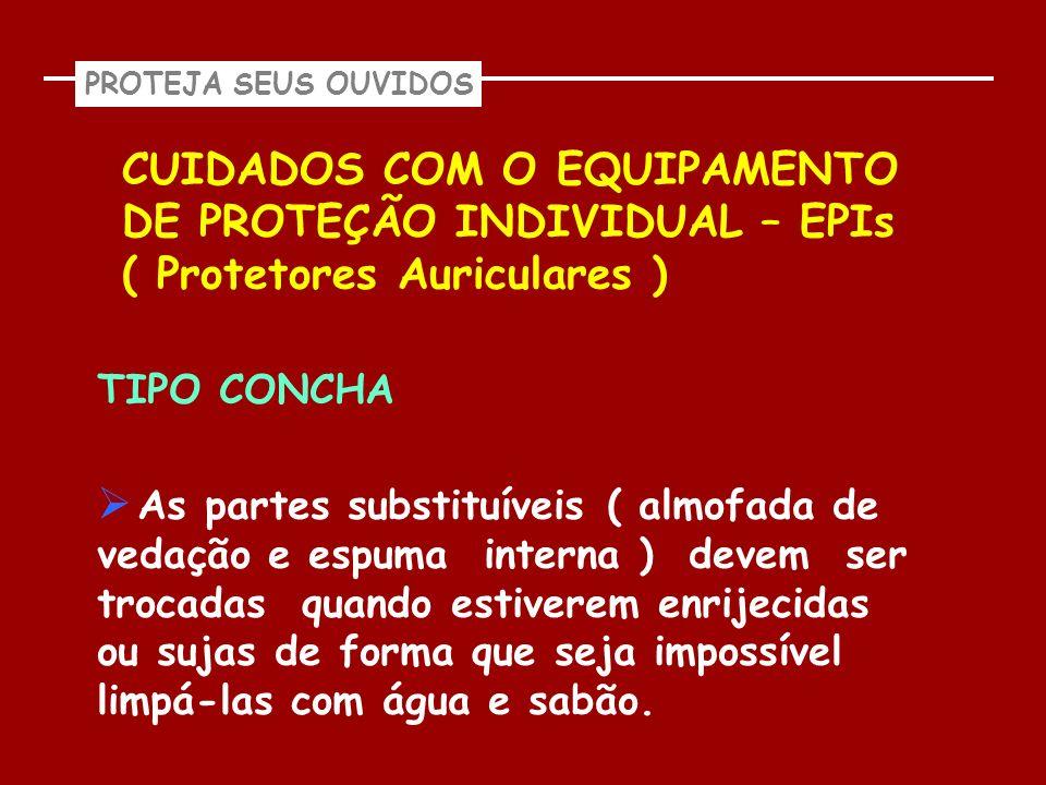 PROTEJA SEUS OUVIDOS CUIDADOS COM O EQUIPAMENTO DE PROTEÇÃO INDIVIDUAL – EPIs ( Protetores Auriculares ) TIPO CONCHA As partes substituíveis ( almofad