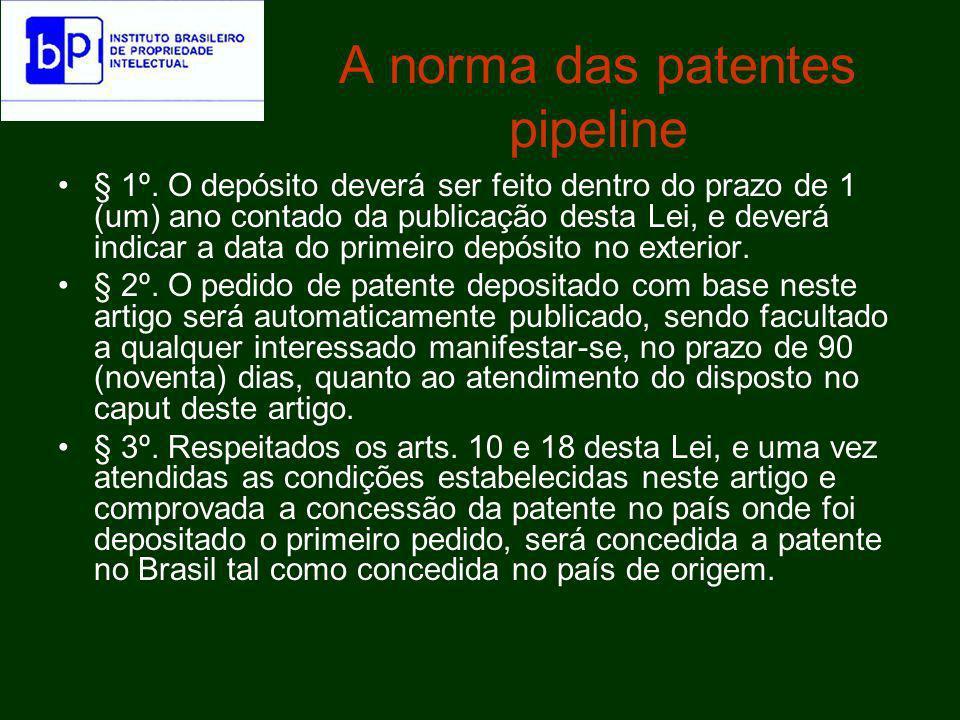 A norma das patentes pipeline § 4º.
