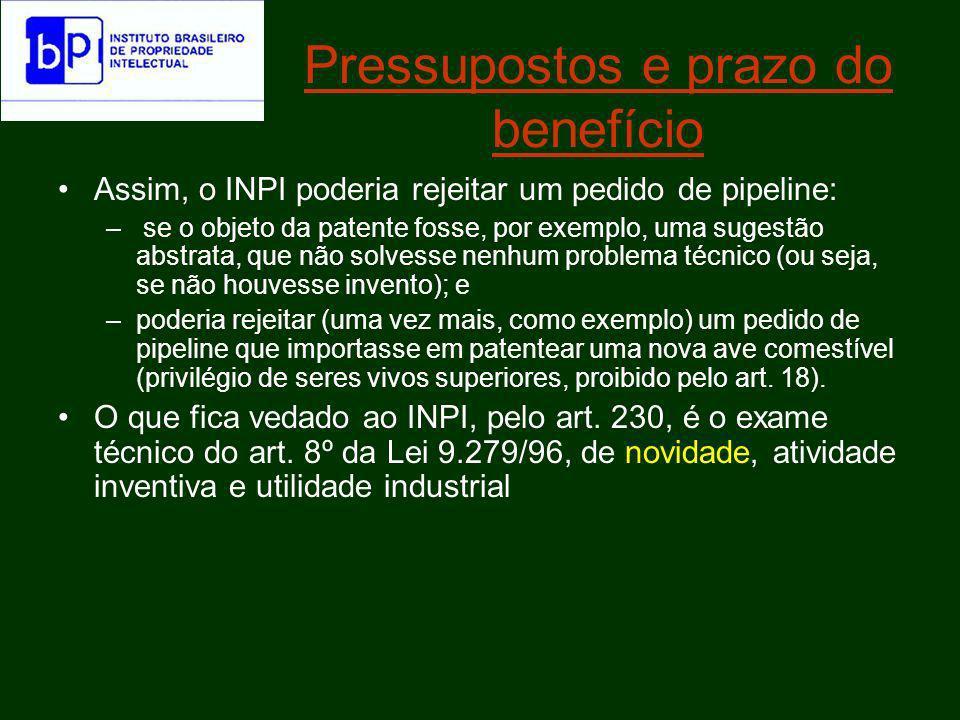 Pressupostos e prazo do benefício Feito o pedido segundo o procedimento do pipeline, desde que o INPI entendesse que o pedido era um invento (como prevê o art.