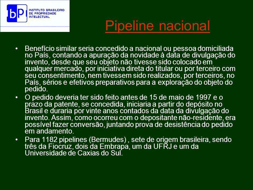 STJ o prazo de proteção da patente pipeline deve ser o remanescente que a patente originária tem no exterior, contado, ao revés, a partir da data do primeiro depósito do pedido de proteção patentária, o qual incidiria a partir da data do depósito no Brasil, limitado tal período, entretanto, a 20 anos.