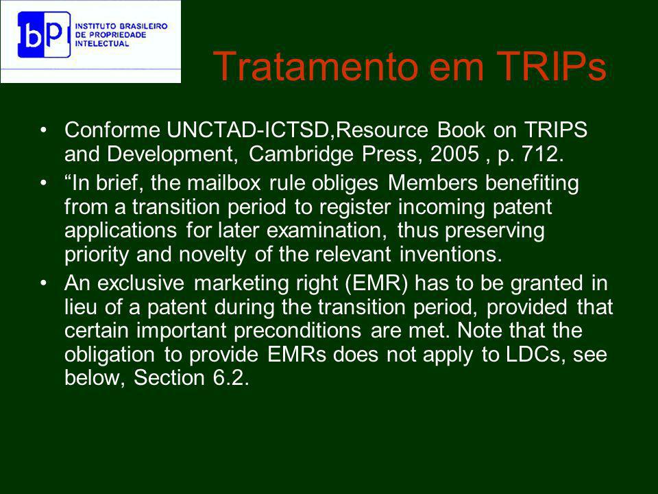 Tratamento em TRIPs Conforme UNCTAD-ICTSD,Resource Book on TRIPS and Development, Cambridge Press, 2005, p. 712. In brief, the mailbox rule obliges Me