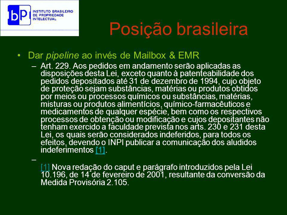 Posição brasileira Como mencionado, o chamado pipeline do Direito Brasileiro de patentes não se confunde com qualquer noção análoga do regime de TRIPs.