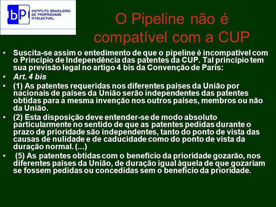 A invasão das patentes pipeline A Inconstitucionalidade da Patente Pipeline http://denisbarbosa.addr.com/pipeline.pdfA Inconstitucionalidade da Patente Pipeline http://denisbarbosa.addr.com/pipeline.pdf Posição da 2a.