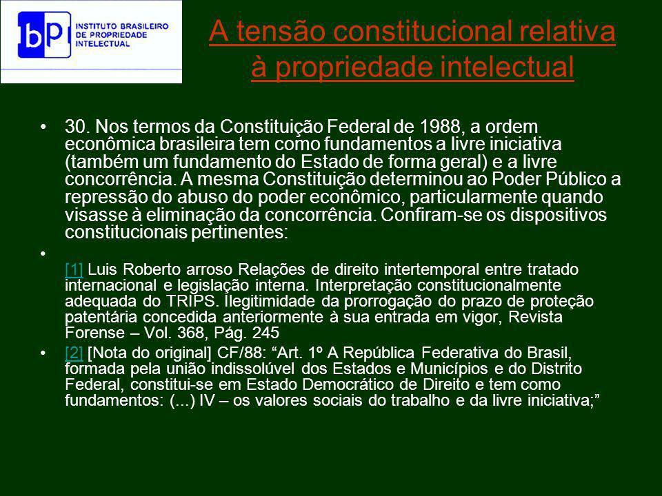 A tensão constitucional relativa à propriedade intelectual Art.