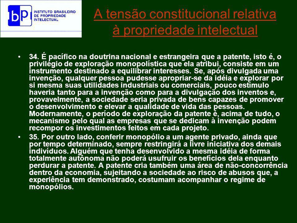 Ruy Rui Barbosa assim definiu o dispositivo constitucional que protegia as marcas, patentes e direitos autorais: Prescrevendo que aos inventores a lei dará um privilegio temporario sobre os seus inventos, o Art.