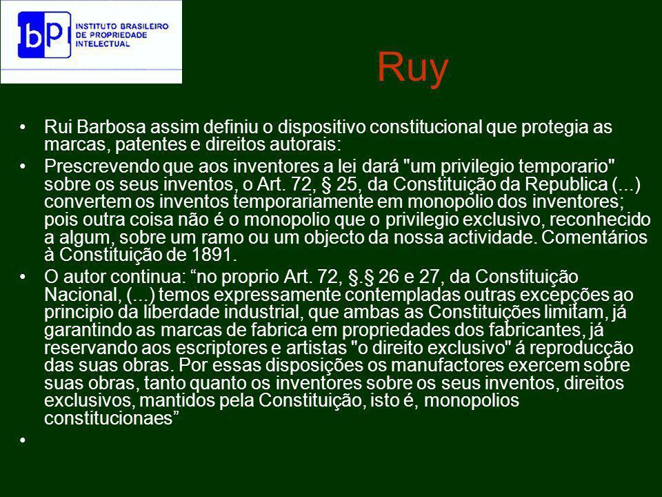 Ruy Rui Barbosa assim definiu o dispositivo constitucional que protegia as marcas, patentes e direitos autorais: Não há só diversidade, senão até antagonismo, e essencial, entre as duas, uma das quaes é a declaração de uma liberdade, a outra a garantia de uma propriedade exclusiva.