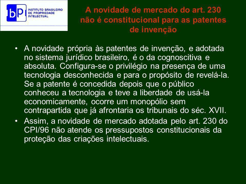 A hipótese de que o exame seja delegado à autoridade estrangeira Como sucedâneo do exame substantivo de patentes, a concessão estrangeira não é razoável.