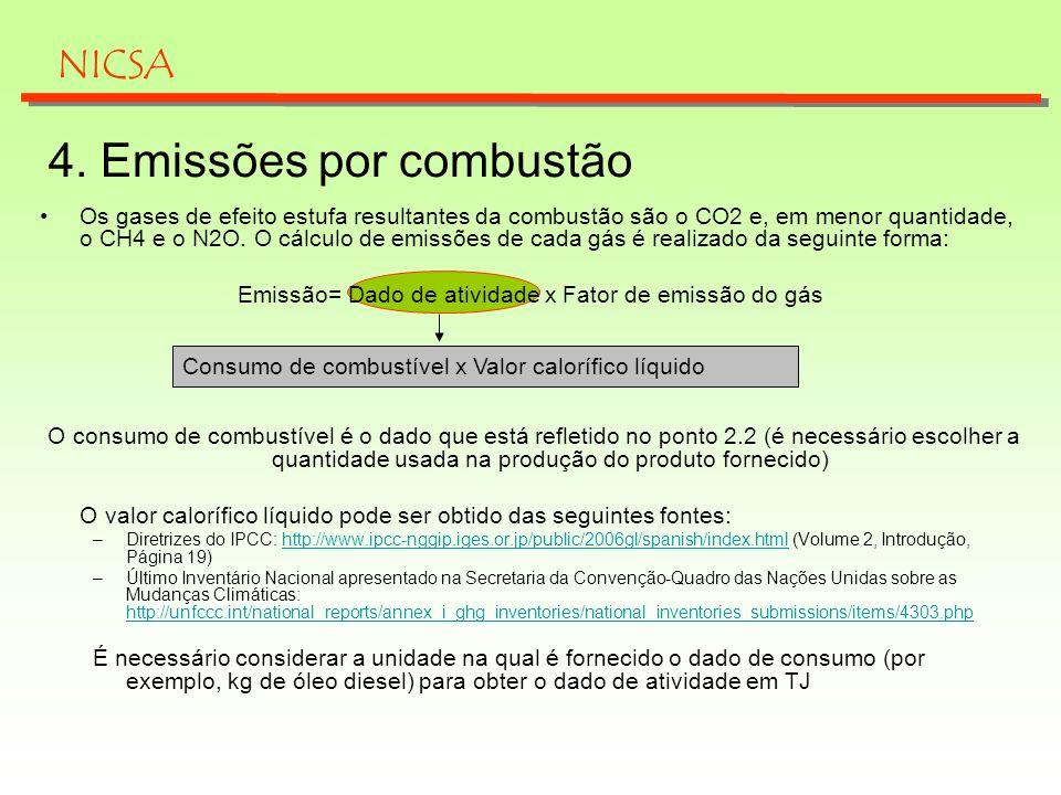 Consumo de combustível x Valor calorífico líquido 4. Emissões por combustão NICSA Os gases de efeito estufa resultantes da combustão são o CO2 e, em m