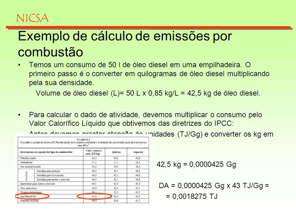 Exemplo de cálculo de emissões por combustão Temos um consumo de 50 l de óleo diesel em uma empilhadeira. O primeiro passo é o converter em quilograma